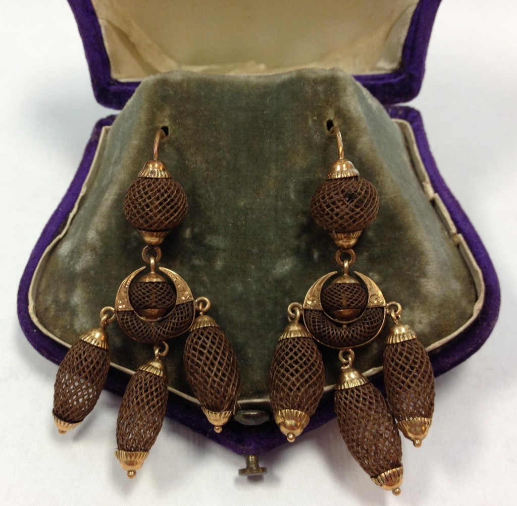 Hair earrings from the Browning family of Jefferson County, ca.1860