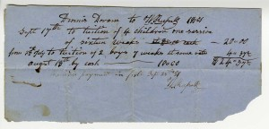 Dennis Doram receipt for tuition for children's schooling, 1851
