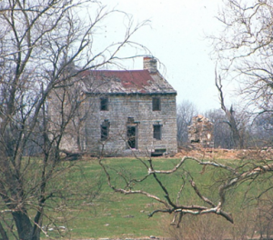 The Old Stone House, 1967 (Pre-1974 tornado destruction).  What remains is the original portion, the entire north section having collapsed. (Photo courtesy of Guy and Anna (Russell) Ingram, Danville, Ky)
