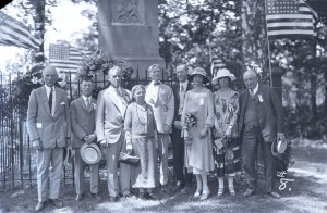 Boone Family Association  members posing in front of Daniel Boone's grave in 1925.