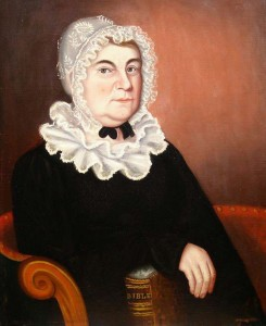 Mrs. Elizabeth Huddleston by William L. Turner, ca 1820. American Folk Paintings, Newbury, MA.