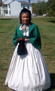 Patricia Tyson, a FREED re-enactor dressed as Belle Mitchell at the Camp Nelson Civil War Days, October 2011.