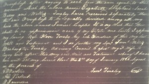 Will of Samuel Tinsley, naming wife Olive, Shelby County, 1826