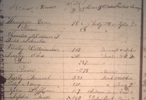 Shelby County Tax List, 1830: Listing Olive and son Samuel just below her entry