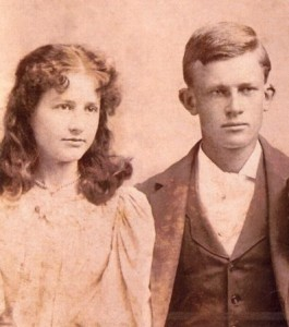 """Matilda Harriett """"Hallie"""" Kaley (1880-1911) and husband John Hartman (1880-1957), probably taken in Cincinnati OH but possibly IN. She is a granddaughter of John & Matilda (Murrell) Slatton and of Nicholas & Harriett (Marshall) Kaley. The only image of a child of John Kaley and Emma (Slatton) Kaley known to the author."""