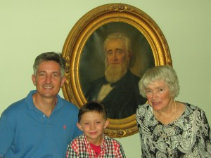 Three generations of descendants with Colonel William Brown's painting. L-R: Chris Starr, Stephen Starr, Ruth Smith Starr Jenkins.