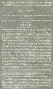 Pension Report for Julia A. Marcum, 1885. Click to enlarge.
