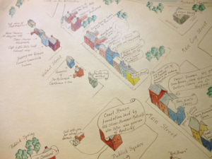 """The portion of a map to the left is taken from a map of early Paris designed by Harriet Herslake in 1930. The drawing was based on the pamphlet by G.R. Keller and J.M. McCann, Sketches of Paris, Bourbon County, Kentucky, (Paris, KY: Saturday Night, G.R. Keller, 1870). The original of the map is hung in the Hopewell Museum in Paris, Kentucky. The credits on the map also say: """"respectfully dedicated to Mrs. Julia Ardery by Linda Griffith, 1984."""" (Click to enlarge)"""