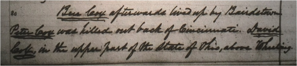 Also included in the third account is a paragraph that details where the families settled after their trip down the Ohio.