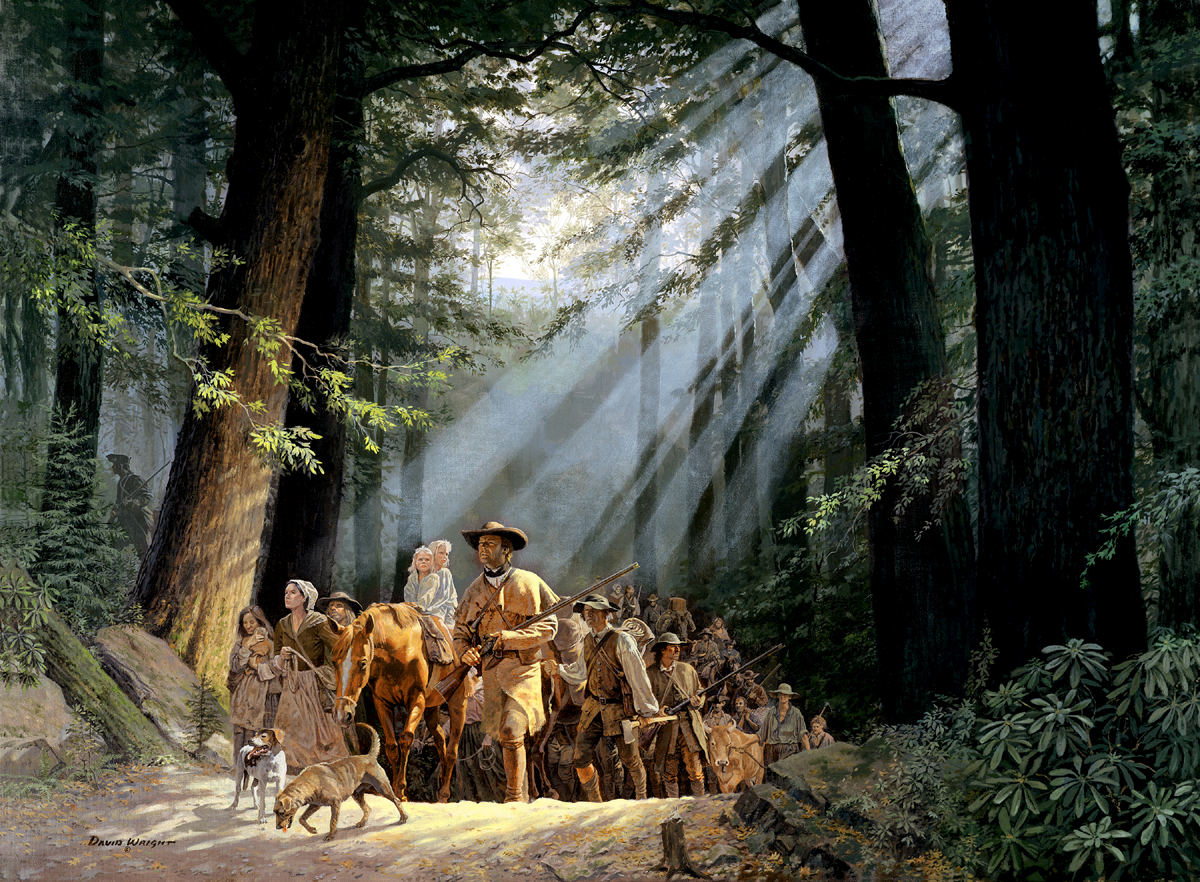 Gateway to the West - Daniel Boone Leading the Settlers through the Cumberland Gap, 1775 by H. David Wright, c. 2000, permission granted by the artist.